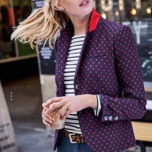Boden British Tweed navy red polka dot blazer
